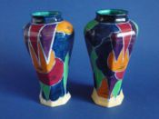 Rare Pair of Keeling and Co 'Jazzette' Losol Ware Vases c1930